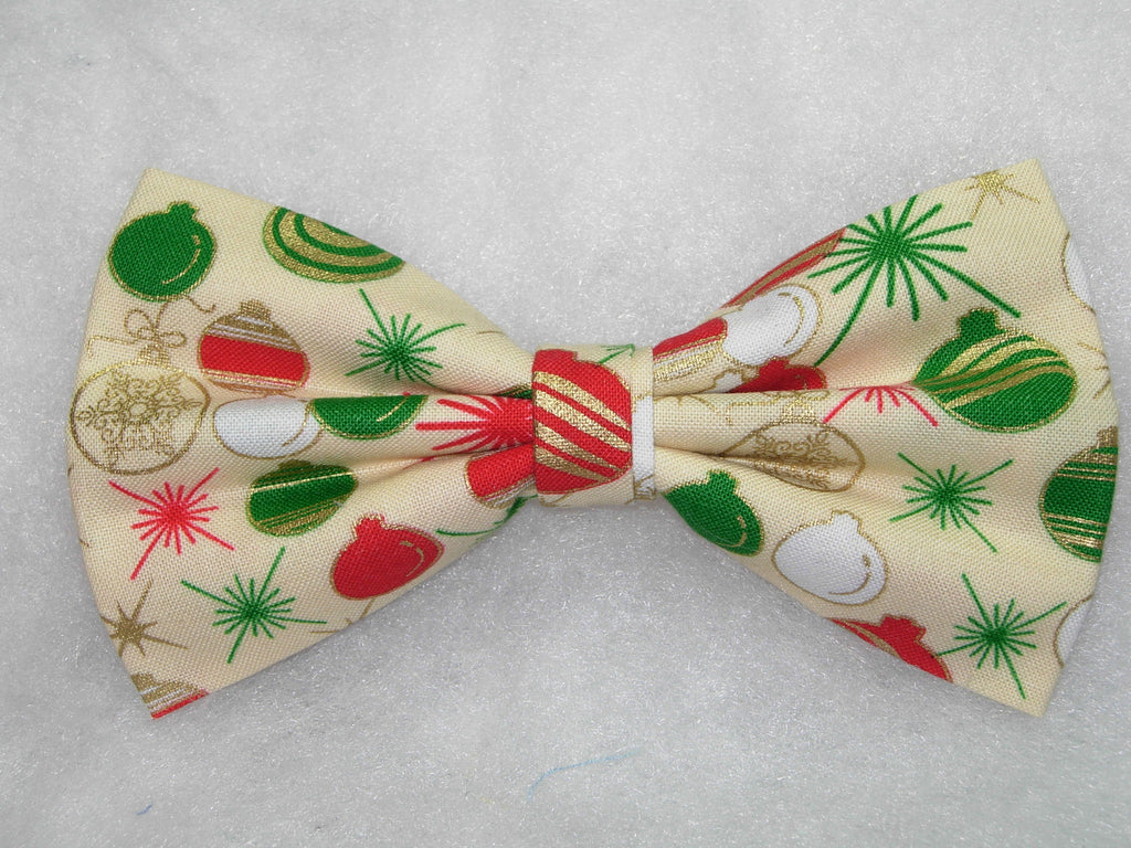 Christmas Bow Tie / Red, Green & White Christmas Bulbs / Metallic Gold Trim / Pre-tied Bow tie - Bow Tie Expressions