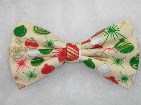 TRIM-A-TREE! PRE-TIED BOW TIE - RED, WHITE & GREEN CHRISTMAS BULBS WITH METALLIC GOLD HIGHLIGHTS - Bow Tie Expressions  - 1