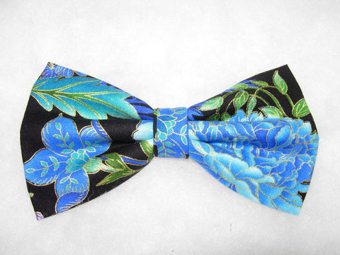 BLUE BLOSSOMS & VINES PRE-TIED BOW TIE - TURQUOISE, JADE & ROYAL BLUE BLOSSOMS & VINES LINED WITH METALLIC GOLD - Bow Tie Expressions  - 1
