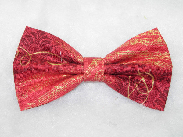 Music Bow tie / Metallic Gold Sheet Music on Holiday Red / Self-tie & Pre-tied Bow tie - Bow Tie Expressions