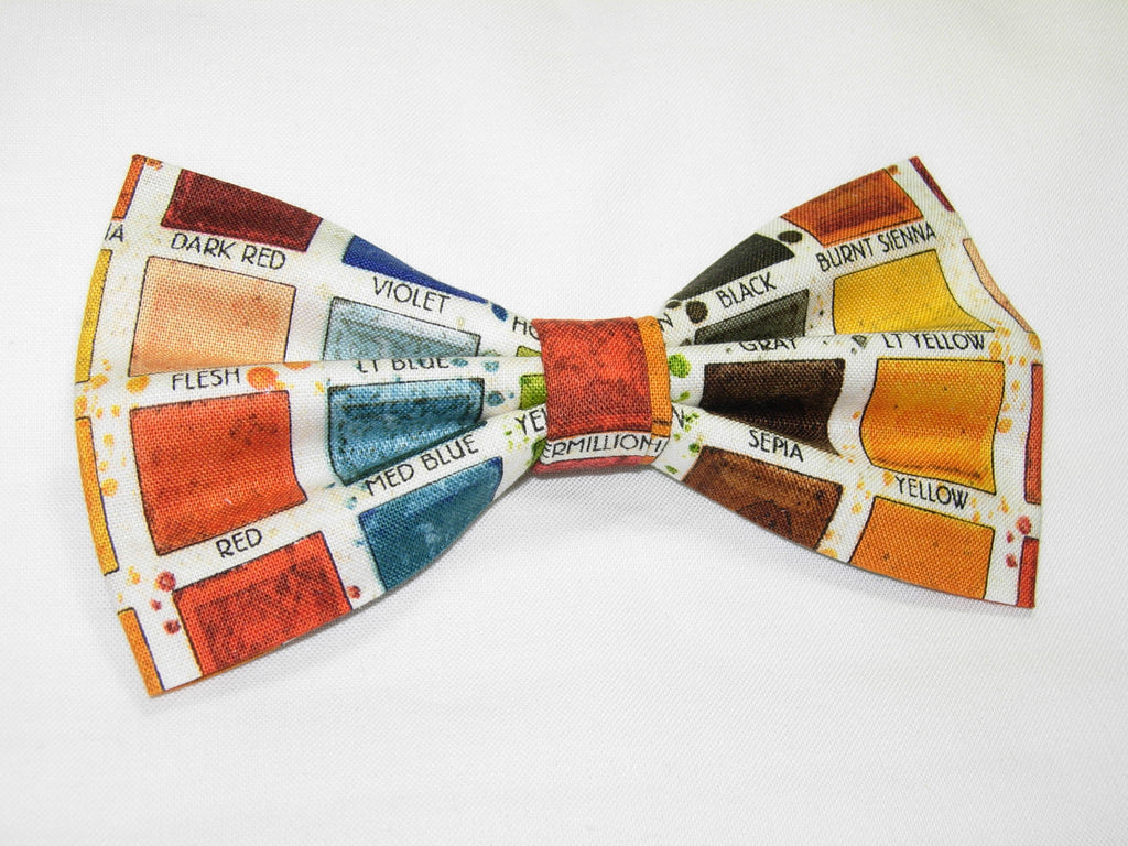 PAINTER'S PALETTE PRE-TIED BOW TIE - RED, ORANGE, YELLOW, GREEN, BROWN, BLUE & GRAY - Bow Tie Expressions