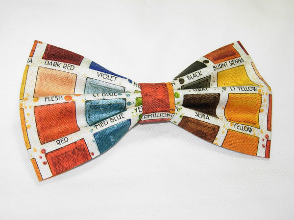 PAINTER'S PALETTE BOW TIE - RED, ORANGE, YELLOW, GREEN, BROWN, BLUE & GRAY - Bow Tie Expressions  - 2