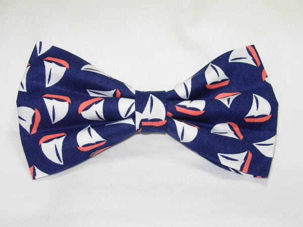TOSSED SAILBOATS ON NAVY BLUE PRE-TIED BOW TIE - NAUTICAL IS NICE! - Bow Tie Expressions  - 1
