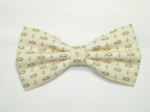 FISHERS OF MEN PRE-TIED BOW TIE - CHRISTIAN FISH & CROSSES ON BEIGE - Bow Tie Expressions  - 1