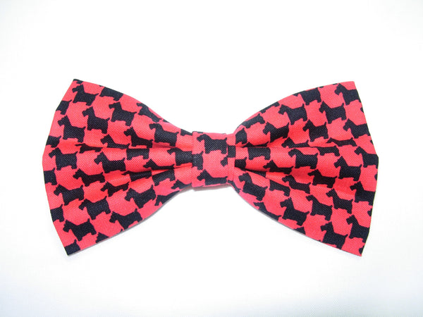 Scottie Bow tie / Black & Red Scottish Terriers / Pre-tied Bow tie - Bow Tie Expressions