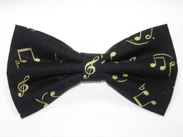 Music Bow tie / Metallic Gold Musical Notes on Black / Recital / Pre-tied Bow tie - Bow Tie Expressions