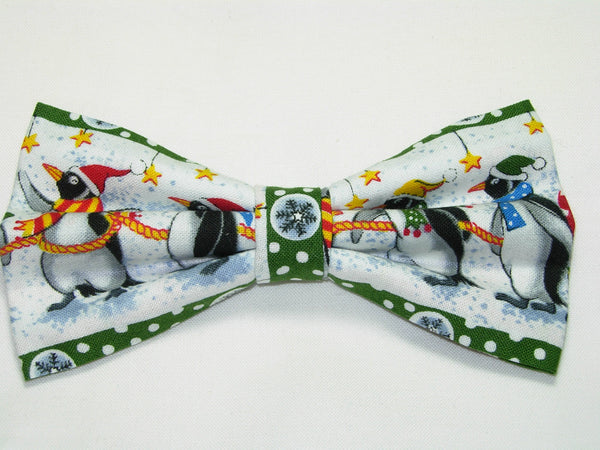 PENGUINS ON PARADE PRE-TIED BOW TIE - PENGUINS & CHRISTMAS STOCKINGS WITH GREEN TRIM - Bow Tie Expressions  - 2
