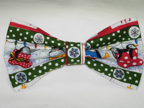 PENGUINS ON PARADE PRE-TIED BOW TIE - PENGUINS & CHRISTMAS STOCKINGS WITH GREEN TRIM - Bow Tie Expressions  - 3