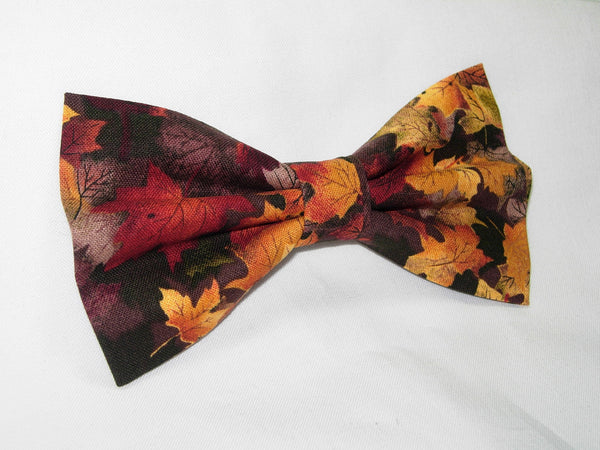 COLORFUL AUTUMN / FALL LEAVES ON BLACK BOW TIE - Bow Tie Expressions  - 3