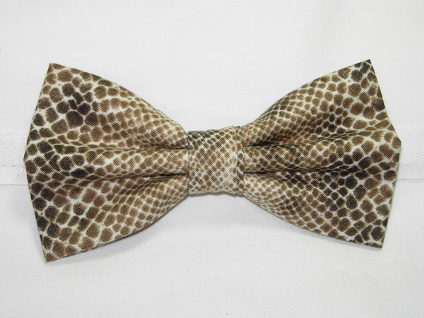 Snake Skin Bow tie / Taupe, Mocha Brown & Tan Snake Skin Design / Pre-tied Bow tie - Bow Tie Expressions