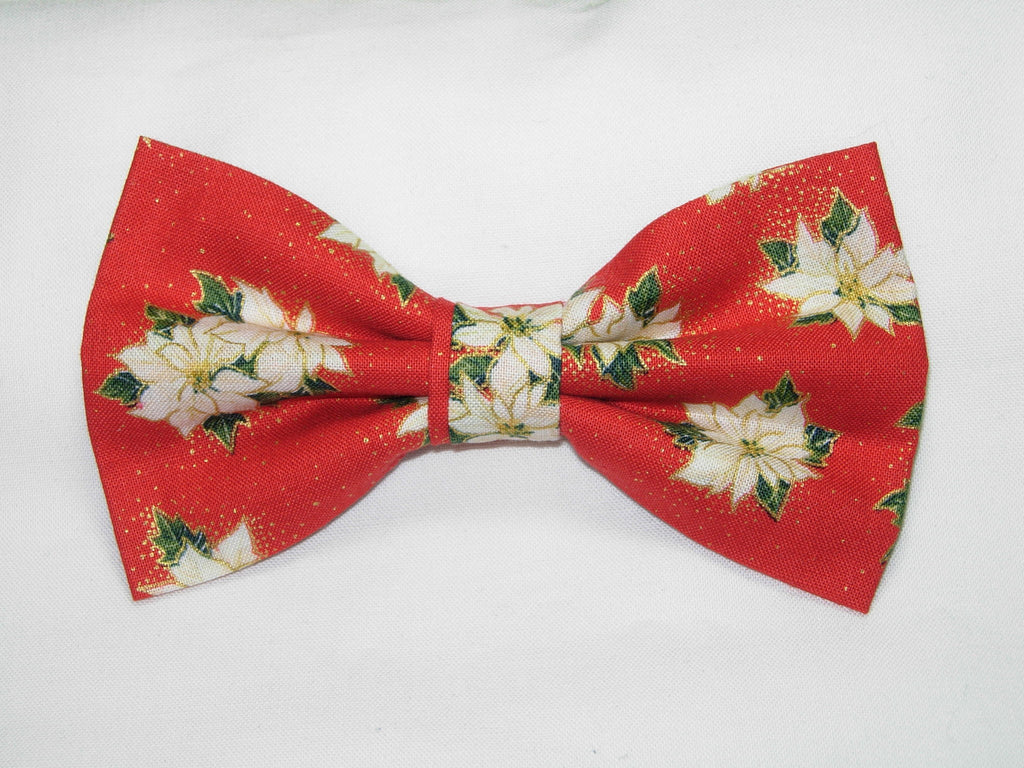 Christmas Bow tie / White Poinsettias on Red / Metallic Gold / Pre-tied Bow tie - Bow Tie Expressions