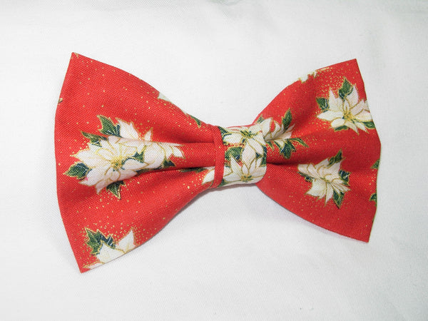 WHITE CHRISTMAS POINSETTIAS ON RED OUTLINED WITH METALLIC GOLD BOW TIE - Bow Tie Expressions  - 3