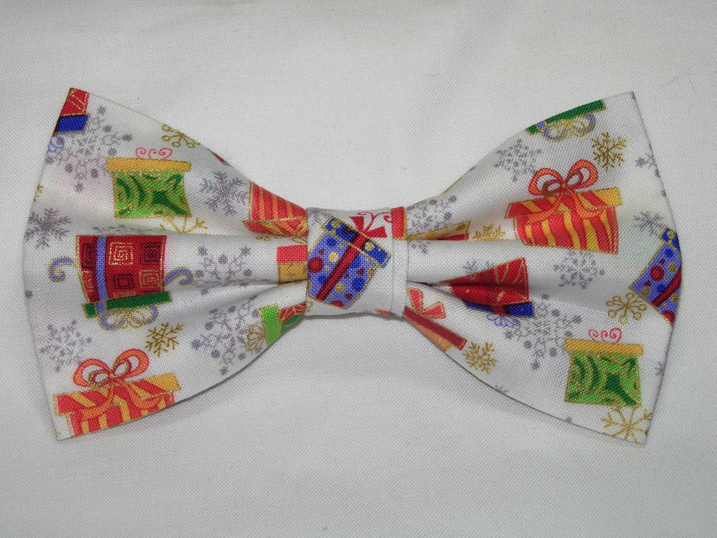 CHRISTMAS GIFTS PRE-TIED BOW TIE - COLORFUL CHRISTMAS GIFTS & SNOWFLAKES WITH METALLIC GOLD TRIM ON WHITE - Bow Tie Expressions  - 1