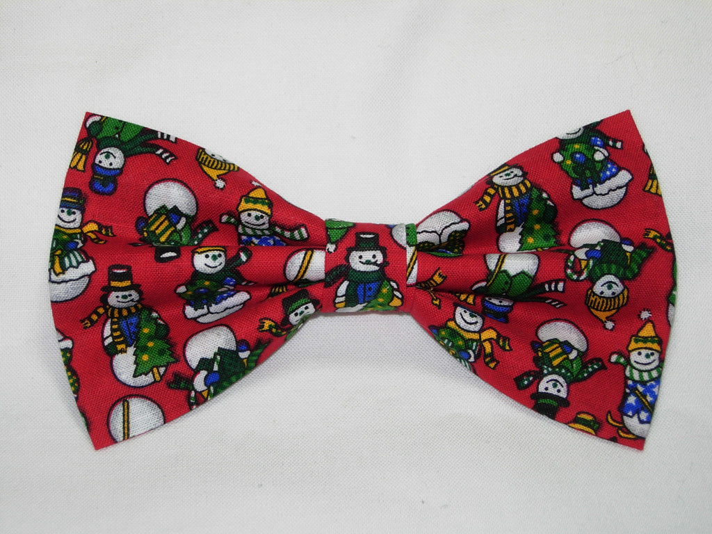 Christmas Party Bow tie / All Dressed Up Snowmen on Red / Pre-tied Bow tie - Bow Tie Expressions