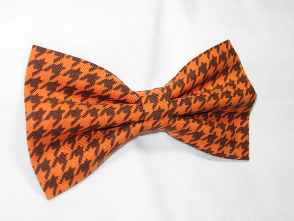PUMPKIN ORANGE & DARK BROWN CLASSIC HOUNDSTOOTH BOW TIE - Bow Tie Expressions  - 3