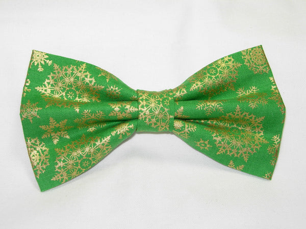 Christmas Bow tie / Metallic Gold Snowflakes on Green / Pre-tied Bow tie - Bow Tie Expressions