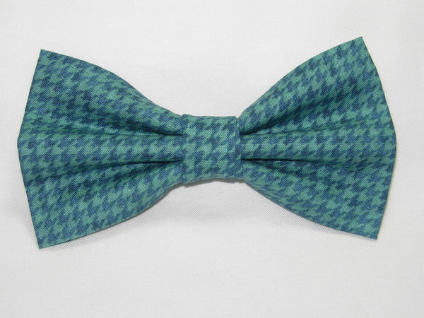 Houndstooth Bow tie / Shades of Teal Green Houndstooth / Pre-tied Bow tie - Bow Tie Expressions