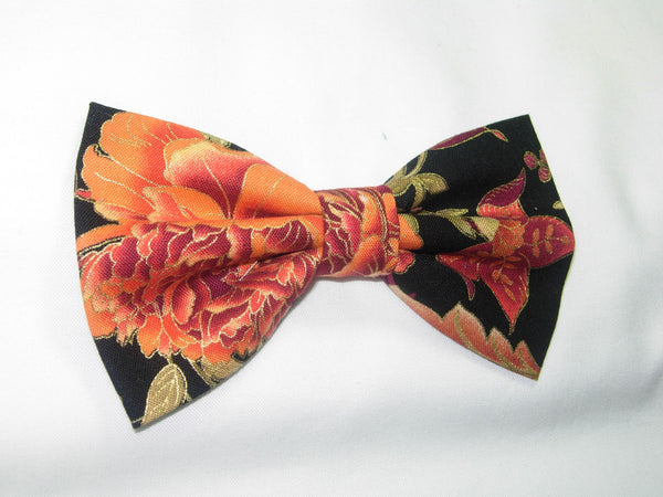 Autumn Bow tie / Cinnamon, Toffee & Orange Flowers & Vines / Metallic Gold Trim / Pre-tied Bow tie - Bow Tie Expressions