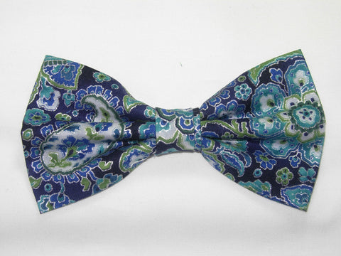 Blue & Silver Paisley / Teal Blue & Turquoise / Metallic Silver / Pre-tied Bow tie - Bow Tie Expressions