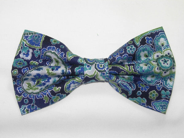 Blue & Silver Paisley / Teal Blue & Turquoise / Metallic Silver / Self-tie & Pre-tied Bow tie - Bow Tie Expressions