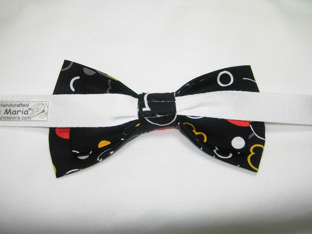 Mickey Mouse on Black Mickey Mouse Bow tie Vintage Disney Pre-tied Bow tie