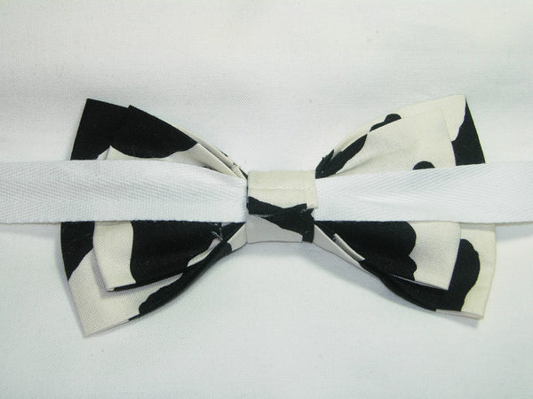 Cow Print Bow Tie / Black Cow Spots on White / Cow Appreciation Day / Pre-tied Bow tie - Bow Tie Expressions