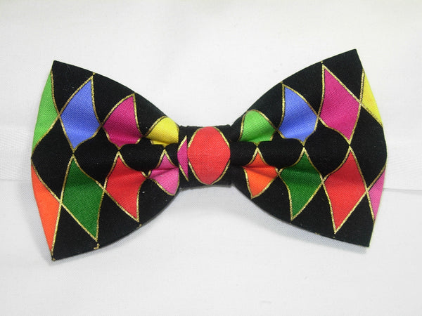 Mardi Gras Party Bow Tie / Pink, Purple, Gold, Green Harlequin Diamonds / Self-tie & Pre-tied - Bow Tie Expressions