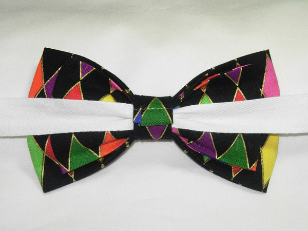 Mardi Gras Party Bow Tie - Pink, Purple, Gold, Green Harlequin Diamonds | Pre-tied Bow tie - Bow Tie Expressions