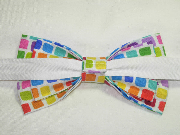 EASTER / SPRING TILES BOW TIE - RED, BLUE, GREEN, YELLOW, PURPLE & ORANGE - Bow Tie Expressions  - 3