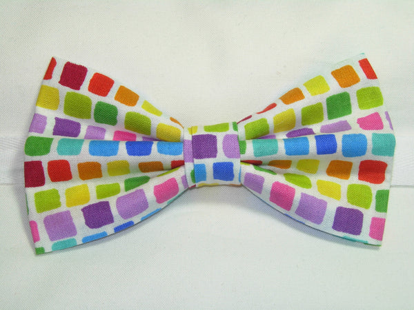 EASTER / SPRING TILES PRE-TIED BOW TIE - RED, BLUE, GREEN, YELLOW, PURPLE & ORANGE - Bow Tie Expressions