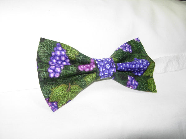 LUSCIOUS PURPLE GRAPES & LEAVES BOW TIE - Bow Tie Expressions  - 3