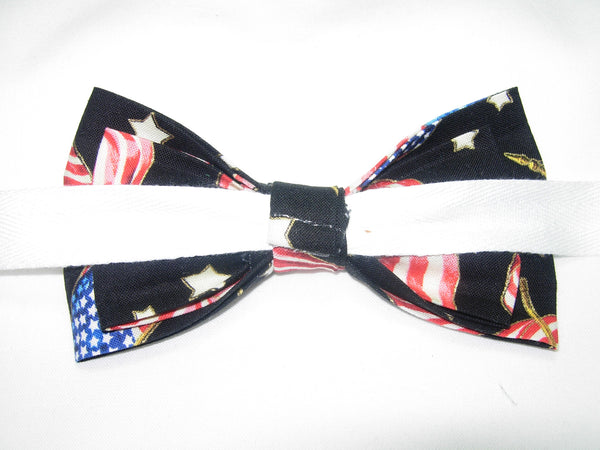 AMERICAN FLAGS & STARS WITH METALLIC GOLD TRIM ON BLACK PRE-TIED BOW TIE - Bow Tie Expressions  - 3