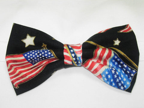 AMERICAN FLAGS & STARS WITH METALLIC GOLD TRIM ON BLACK PRE-TIED BOW TIE - Bow Tie Expressions  - 1