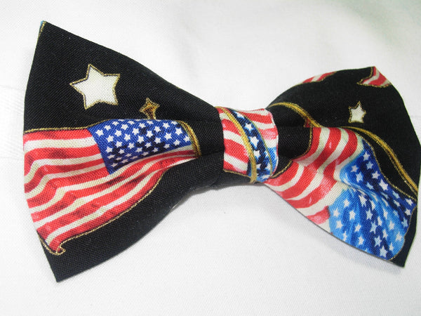 AMERICAN FLAGS & STARS WITH METALLIC GOLD TRIM ON BLACK PRE-TIED BOW TIE - Bow Tie Expressions  - 2