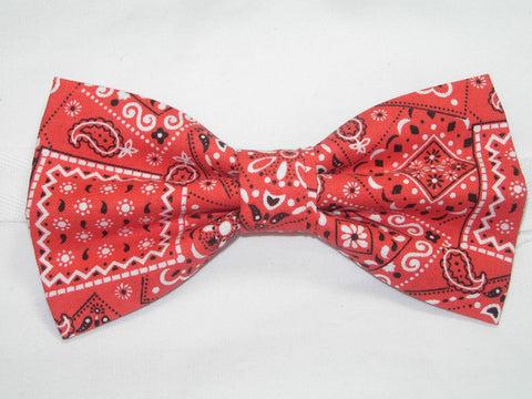 RED WESTERN BANDANA PRE-TIED BOW TIE - Bow Tie Expressions  - 1
