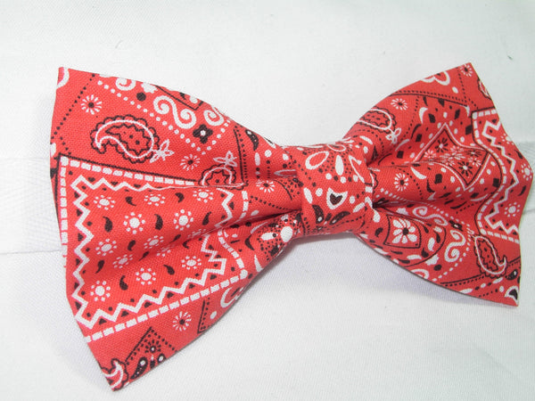 RED WESTERN BANDANA BOW TIE - Bow Tie Expressions  - 3