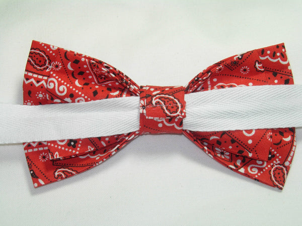 Red Bandana Bow tie / Country Western Bandana / Pre-tied Bow tie - Bow Tie Expressions