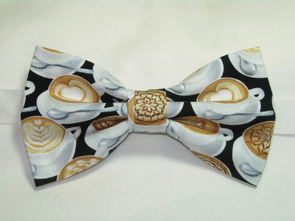 LATTE ART PRE-TIED BOW TIE - DECORATED LATTE COFFEE CUPS ON BLACK - Bow Tie Expressions  - 1