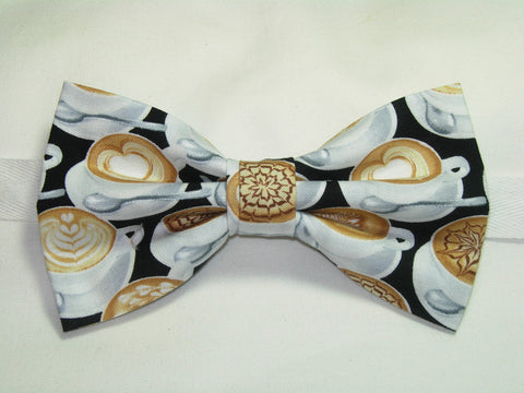 Latte Art Bow tie / Decorated Coffee Cups on Black / Barista / Coffee Shop / Pre-tied Bow tie - Bow Tie Expressions