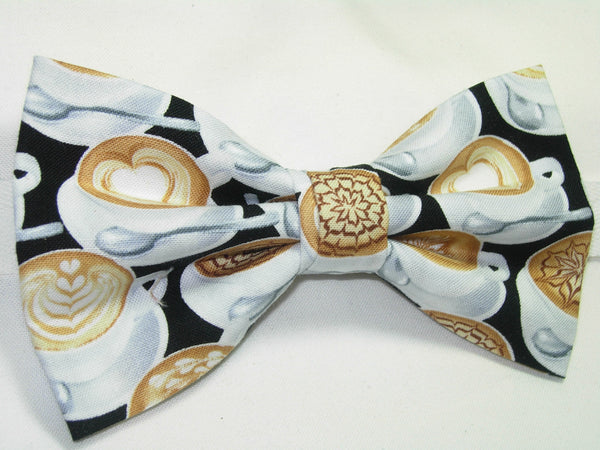 LATTE ART PRE-TIED BOW TIE - DECORATED LATTE COFFEE CUPS ON BLACK - Bow Tie Expressions  - 2