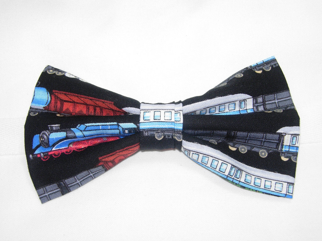 Colorful Trains Pre-tied Bow Tie - Rows of Colorful Trains on a black background CHOO! CHOO! - Bow Tie Expressions