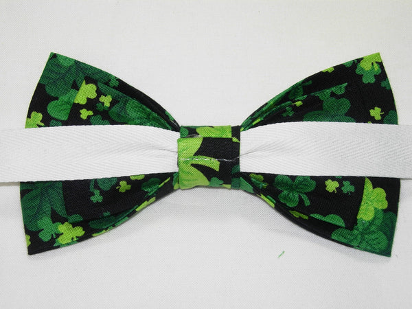 THREE LEAF CLOVERS / SHAMROCKS TOSSED ON BLACK PRE-TIED BOW TIE - Bow Tie Expressions  - 3