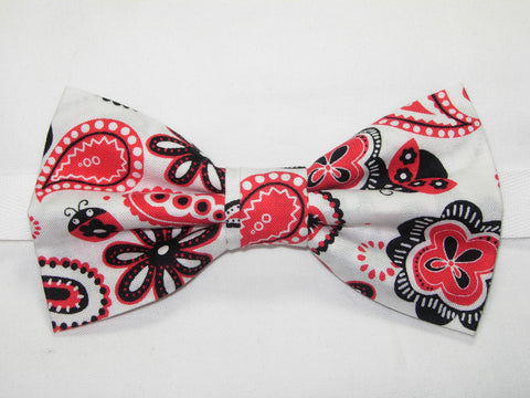 LUV BUG PAISLEY PRE-TIED BOW TIE - RED & BLACK PAISLEY & LADYBUGS ON WHITE - Bow Tie Expressions