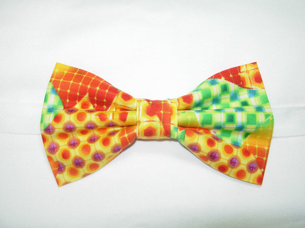 MOSAIC MEDLEY BOW TIE - RED, ORANGE, GREEN & YELLOW IN AN ABSTRACT DESIGN - Bow Tie Expressions  - 2