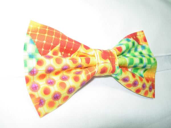 MOSAIC MEDLEY PRE-TIED BOW TIE - RED, ORANGE, GREEN & YELLOW IN AN ABSTRACT DESIGN - Bow Tie Expressions