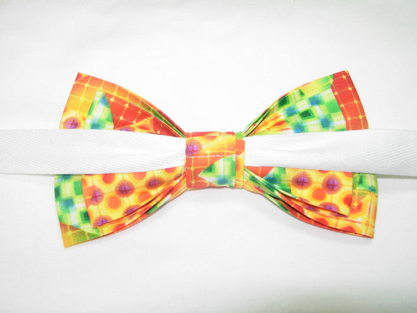 MOSAIC MEDLEY BOW TIE - RED, ORANGE, GREEN & YELLOW IN AN ABSTRACT DESIGN - Bow Tie Expressions  - 4