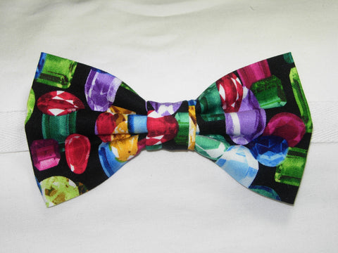 DAZZLING JEWELS PRE-TIED BOW TIE - COLORFUL GEM STONES ON BLACK - Bow Tie Expressions  - 1
