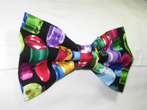 DAZZLING JEWELS BOW TIE - COLORFUL GEM STONES ON BLACK - Bow Tie Expressions