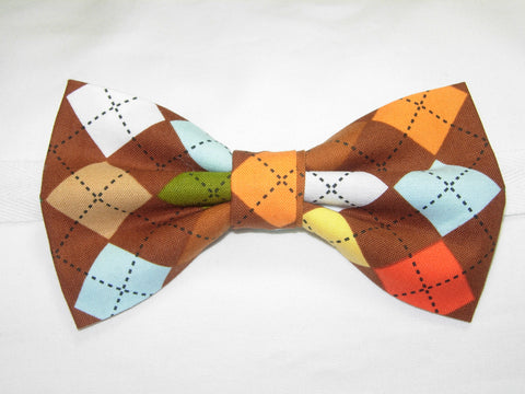 CHOCOLATE ARGYLE PRE-TIED BOW TIE - BROWN, ORANGE, YELLOW & BLUE - Bow Tie Expressions  - 1