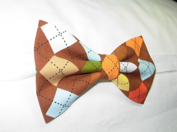 CHOCOLATE ARGYLE BOW TIE - BROWN, ORANGE, YELLOW & BLUE - Bow Tie Expressions  - 3